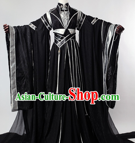 Chinese Traditional Black Hanfu Wide Sleeves Suit