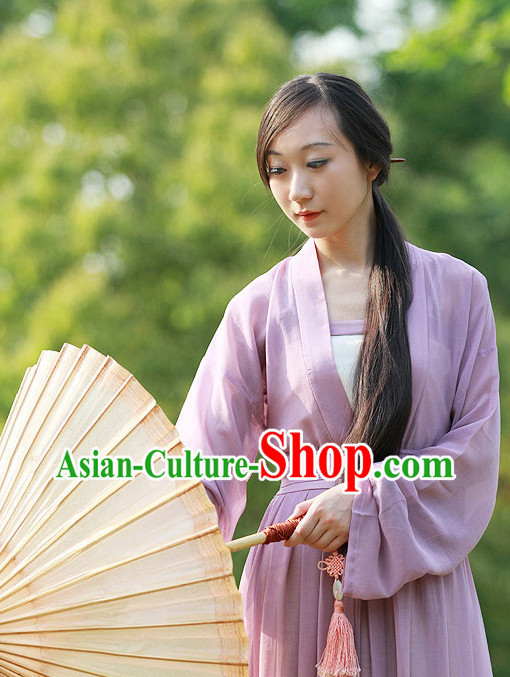 Chinese Traditional Purple Wide Sleeves Hanfu Set