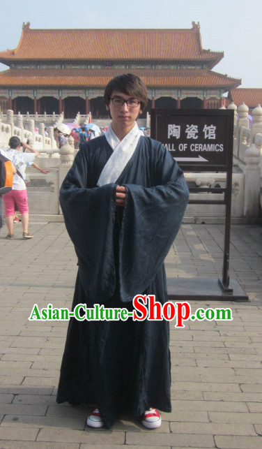 China Classical Ming Dynasty Grey Hanfu Wide Robe for Men