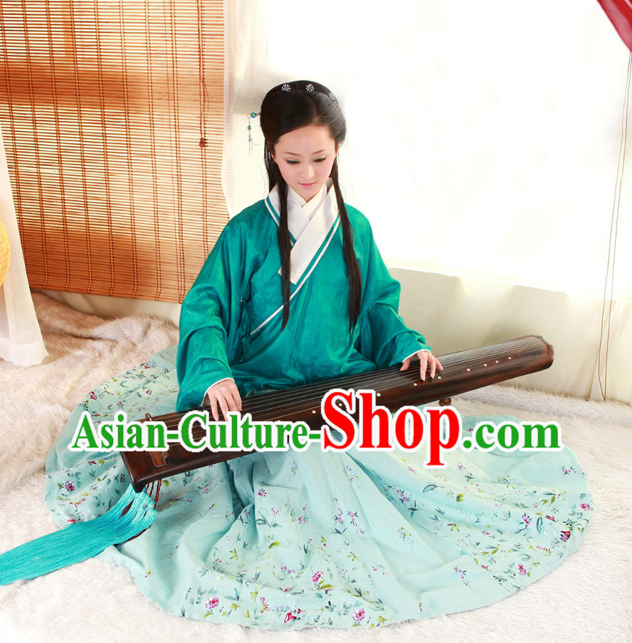 China Classical Musician Lady Hanfu Costumes