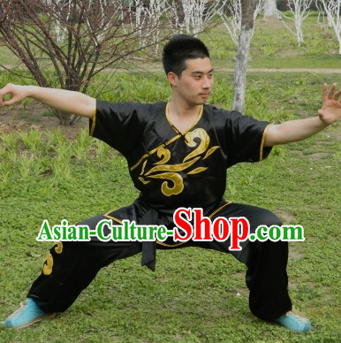 Black Top Kung Fu Martial Arts Costumes Complete Set for Men