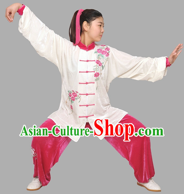 Flower Embroidery Classical Long Sleeves Wushu Suits
