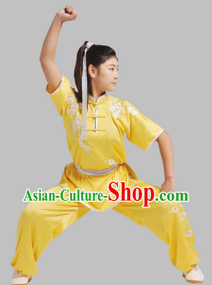 Yellow Plum Blossom Embroidery Wushu Suit