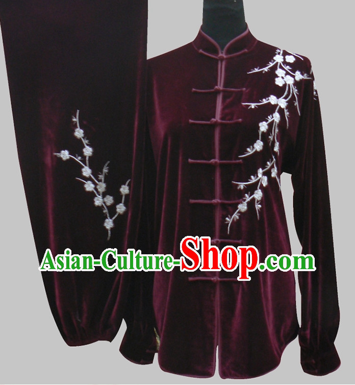 Tradtiional Black Plum Blossom Embroidery Velvet Tai Chi Chuan Competition Suits