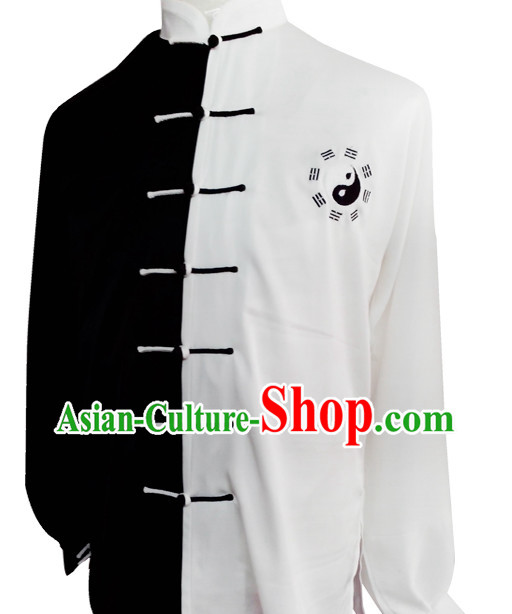 Tradtiional White and Black Yin Yang Embroidery Tai Chi Chuan Competition Suit