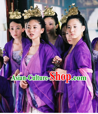 Chinese Traditonal Purple Hanfu Suit and Hair Accessories for Women