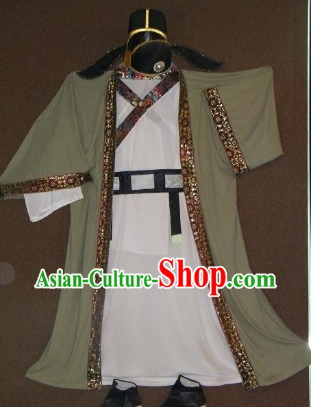 Tang Dynasty Scholar Long Robe Clothes and Hat Complete Set for Men