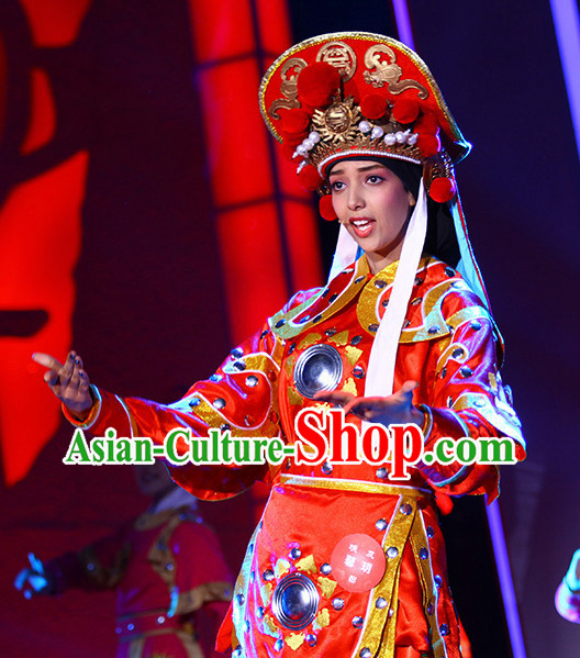 China Heroine Hua Mulan Stage Costumse and Hat for Women.