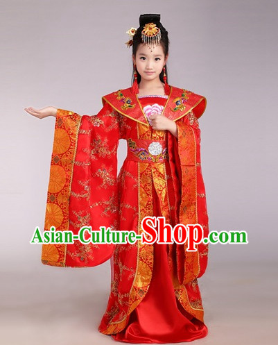 Chinese Traditional Princess Costumes and Hair Accessories for Kids