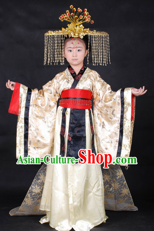 Chinese Empress Hanfu Suit Carnival Costumes Dance Costumes Traditional Costumes for Kids