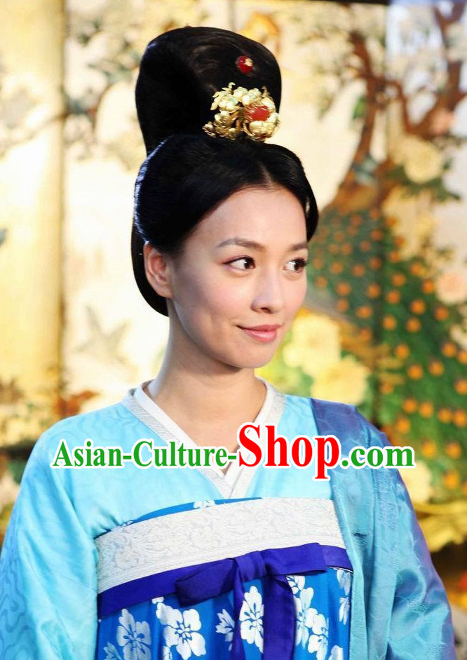 ChineseTraditional Black Wig and Hair Jewelry