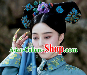 Qing Dynasty Noblewoman Manchu Black Wig and Hair Jewelry