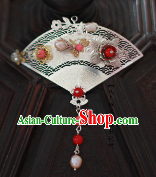 Chinese Fan Shape Traditional Handmade Hair Accessories Comb Fascinators Headbands Bridal Headpieces