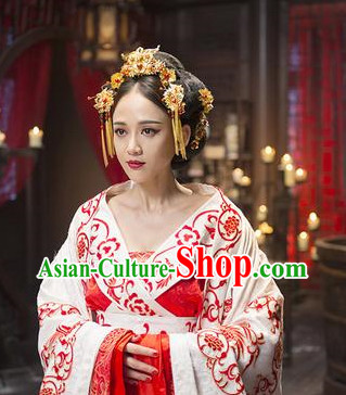 Chinese Royal Empress Phoenix Costumes and Hair Accessories Complete Set