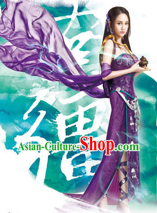 Chinese Legend Fairy Costumes and Hair Accessories Complete Set