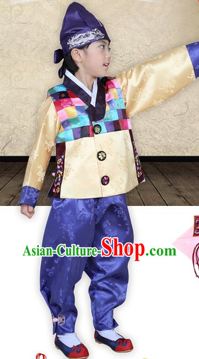 Top Traditional Korean Kids Fashion Kids Apparel Birthday Baby Clothes Boys Clothes and Hat