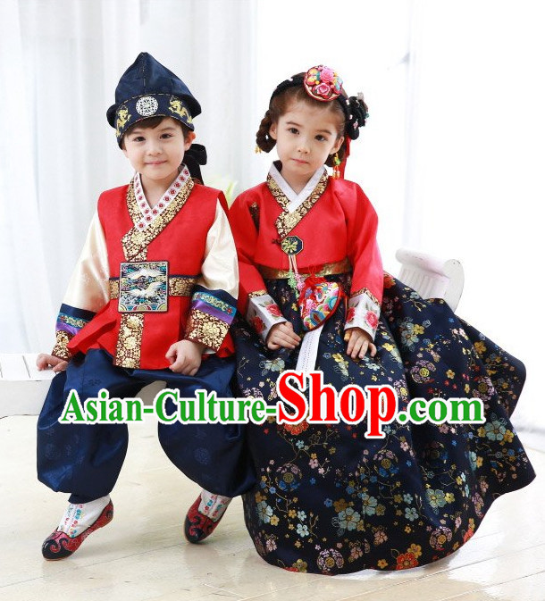 Top Korean Traditional Custom Made Birthday Hanbok Complete Set for Girls and Boys