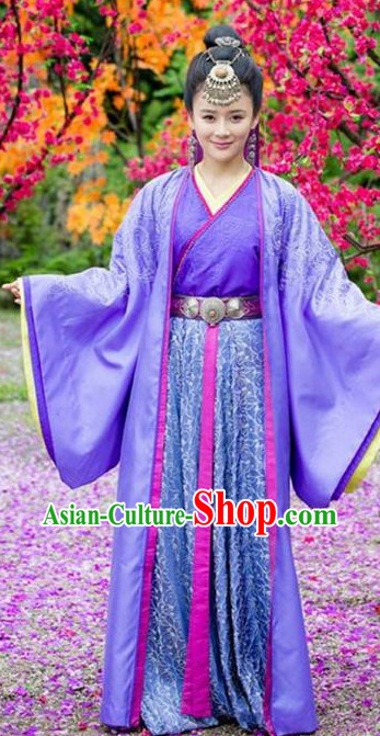 Ancient Chinese Purple Beauty Hanfu Costumes China Fashion and Hair Accessories Complete Set
