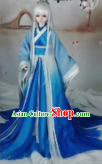 Traditional Chinese Blue White Hanfu Dresses for Adults