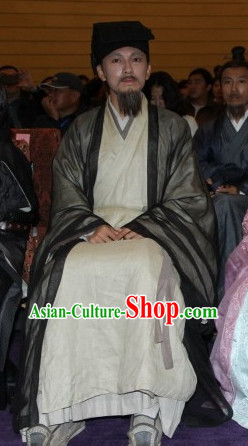 Chinese Traditional Teacher Scholar Costumes and Hat Complete Set for Men