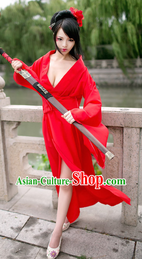 Asian Fashion Sexy Red Costumes for Ladies