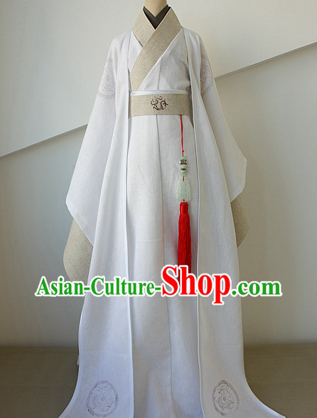 Asian Fashion White Chinese Hanfu Costumes for Men