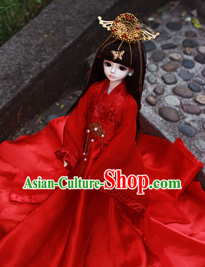 Asian Fashion Chinese Custom Made Red Wedding Dress for Adults