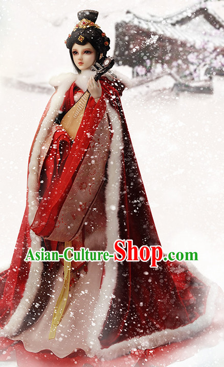 Asian Fashion Traditional Chinese Wang Zhaojun Costumes Mantle and Hair Accessories for Women