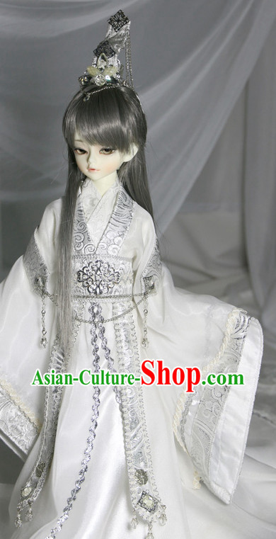 Asian Fashion Traditional Chinese National Costume and Coronet for Men
