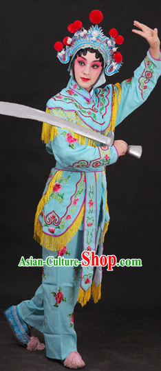 Classical China Peking Opera Hua Dan Costume and Headwear Complete Set