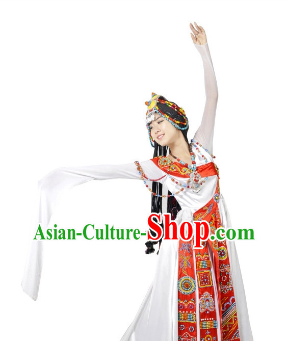 Chinese Tibetan Dancewear and Headwear for Women