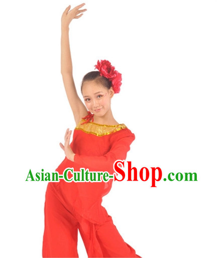 Chinese Red Contemporary Costumes and Headwear for Women