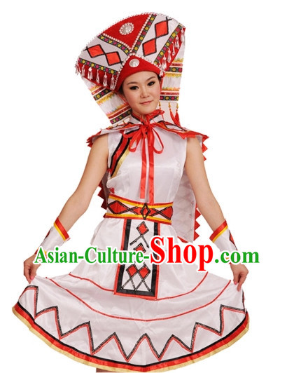 China Shop Chinese Zhuang Ethnic Dance Costumes Girls Dancewear for Women