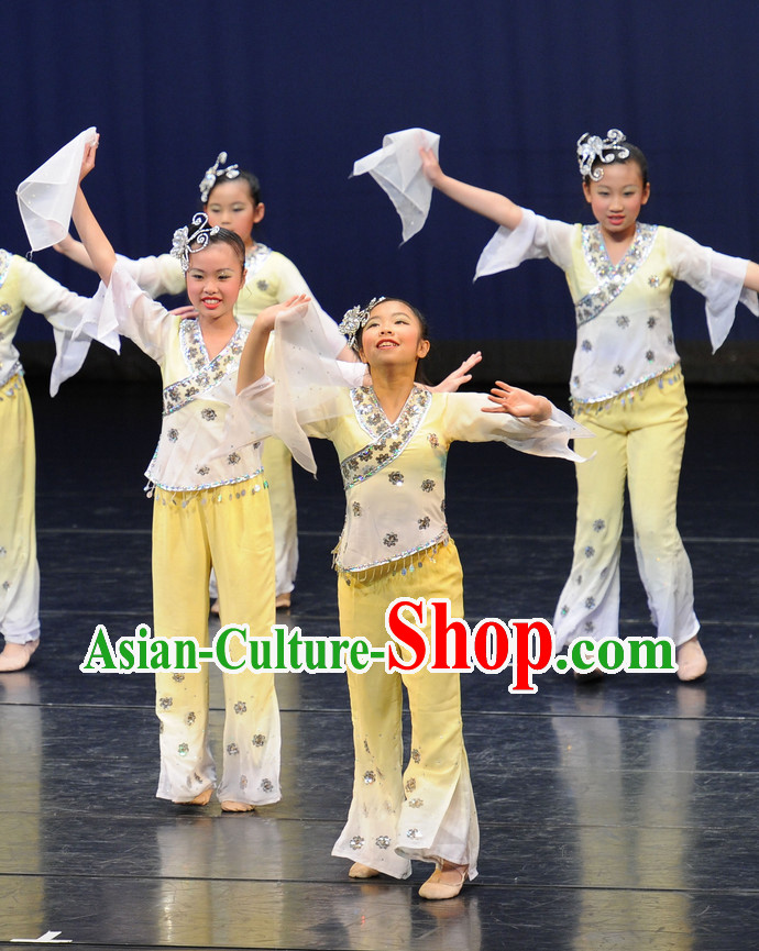 China Kids Fan Dance Costumes Ballerina Costume Burlesque Costumes Salsa Costumes