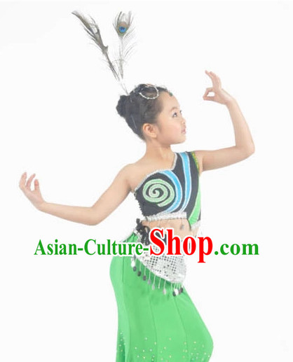 China Peacock Dance Costumes Ballerina Costume Burlesque Costumes Salsa Costumes