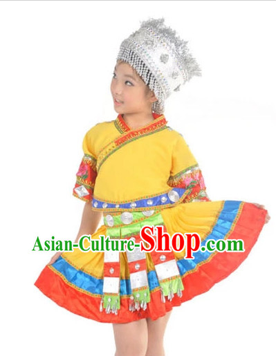 China Kids Miao Dance Costumes Ballerina Costume Burlesque Costumes Salsa Costumes