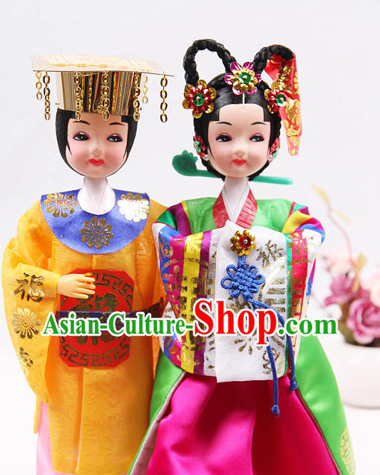 Korean Traditional Emperor and Empress Silk Figurine Arts