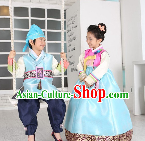 Korean Fashion National Costumes Hanbok Clothes Complete Set for Girls and Boys