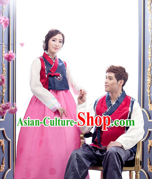 Top Korean Traditional Hanbok National Costumes Complete Set for Men and Women