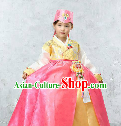 Top Korean Traditional Hanbok National Costumes Complete Set for Children