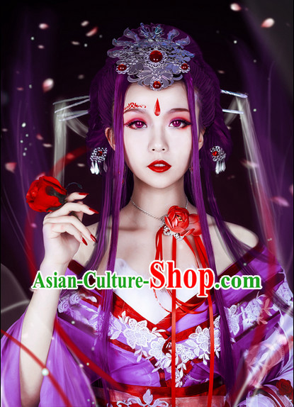 Asian Fashion Purple Princess Costumes and Hair Accessories Complete Set