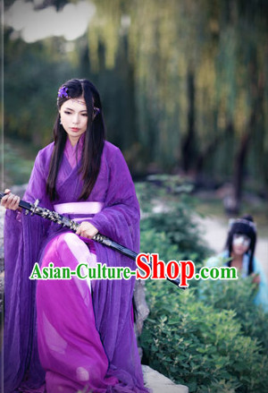 Asian Warrior Female Purple Hanfu Costumes Complete Set for Women