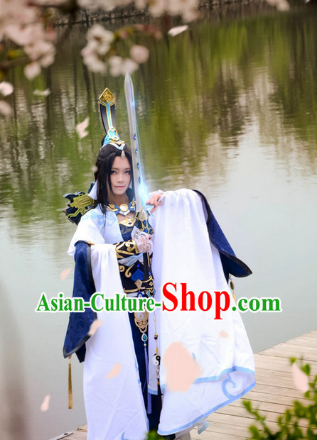 Chinese Costumes Traditional Clothing China Shop Nun Costumes and Hair Accessories Complete Set