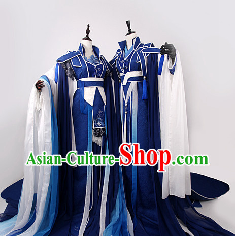 Chinese Royal Blue Sworsdsmen and Swordswomen Halloween Costumes 2 Complete Sets