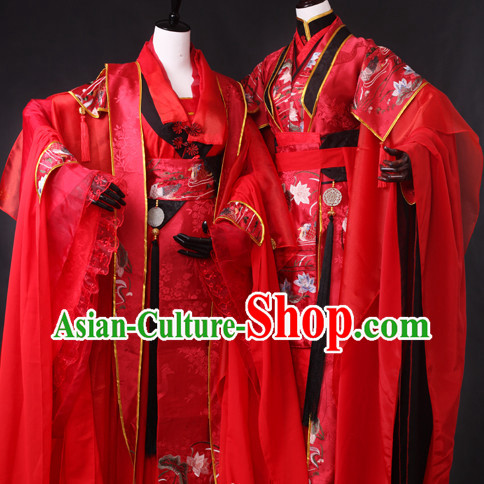Chinese Red Wedding Hanfu Dresses 2 Sets for Men and Women