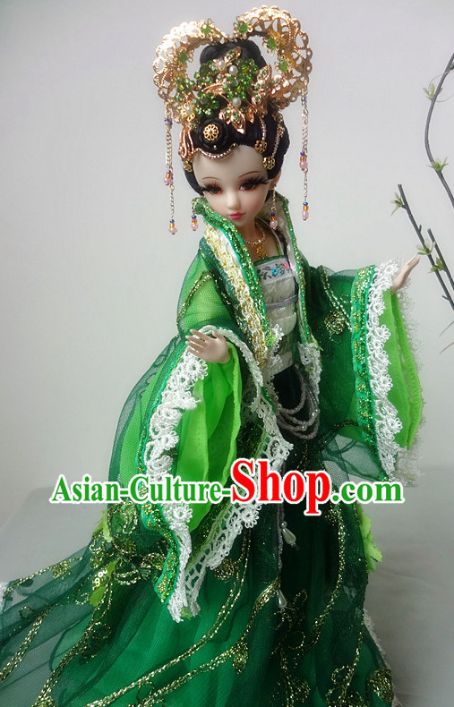 China Civilization Chinese Green Princess Clothing and Hair Jewelry Complete Set for Women