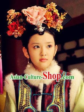 Qing Dynasty Style Chinese Female Black Wig Hair Accessories Hair Jewelry