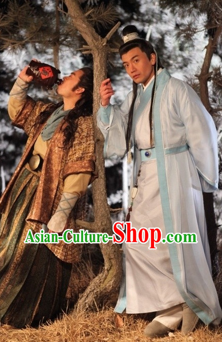 Chinese Ancient Fencer Costumes and Hair Bands Complete Set for Men