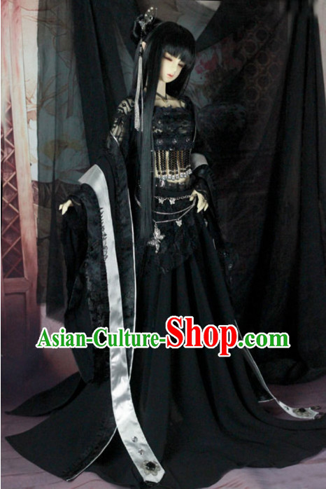 Chinese Black Hanfu Dancer Costumes for Women