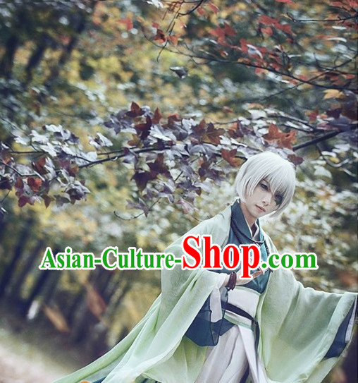 Chinese Cosplay Kimono Costumes Asian Fashion and Wig Complete Set